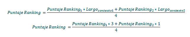 fórmula puntaje ranking