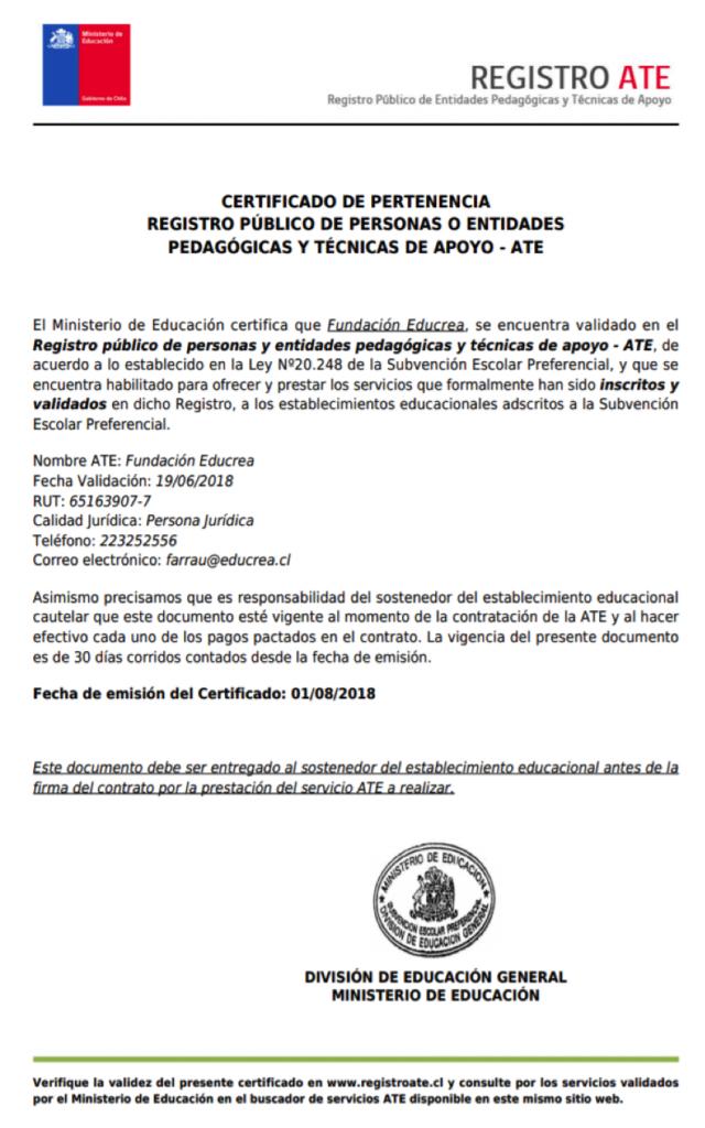 Certificado de Pertenencia - Registro público de personas o entidades pedagógicas y técnicas de apoyo ATE